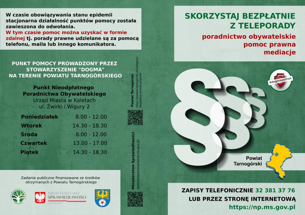 Nieodpłatna Pomoc Prawna i Nieodpłatn ePoradnictwo Obywatelskie Powiat Tarnogórski